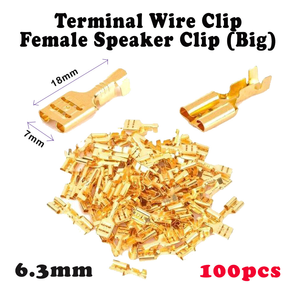 4.8mm / 6.3mm Gold Brass Terminal Wire Wiring Car Speaker Connector Speaker Clip - Female Spade 4.8mm / 6.3mm
