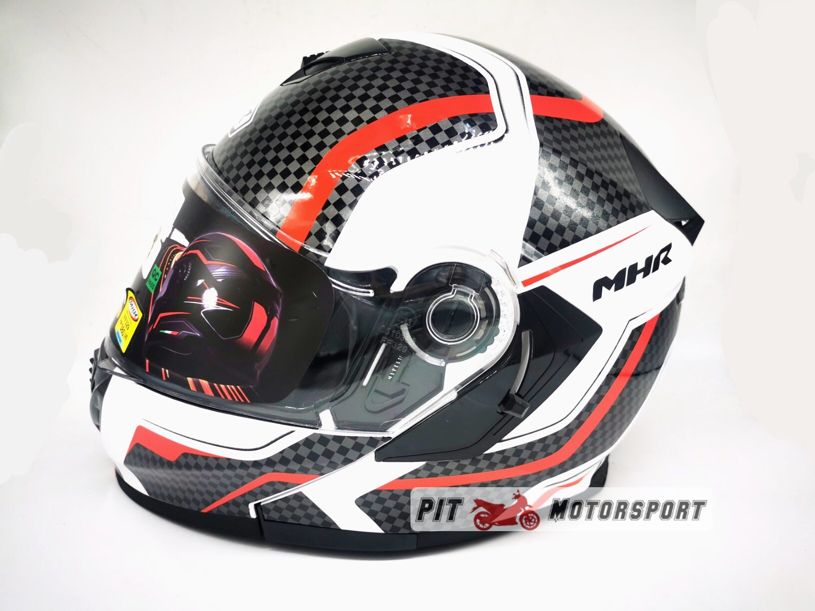 MHR Full Face Flip Up Double Visor Helmet New Design FF329 GT4 GP RACING Red Protect Protection Motor Accessories Merah