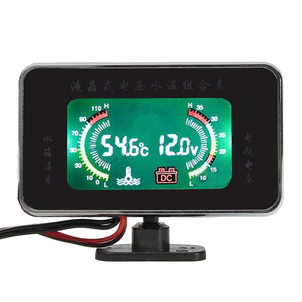Moto Accessories - 12V/ 24V LCD Digital Display Panel Voltmeter Car Motor Water Temperature Gauge - Motorcycles, Parts