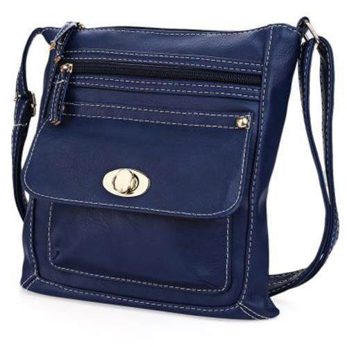 GUAPABIEN SOLID COLOR TURN LOCK ZIPPER VERTICAL DUAL PURPOSES SHOULDER MESSENGER BAG FOR WOMEN (BLUE)