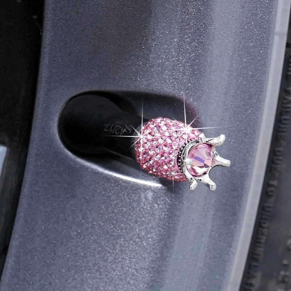 Car Tire Valve Caps 4 Pack Crown Valve Cap Diamond Valve Stem Caps Crystal Rhinestone Valve Core Cap (Pink)