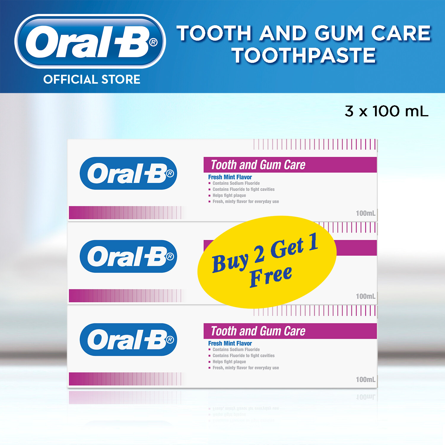 Oral-B Tooth and Gum Care (Fresh Mint) Toothpaste 100ml x3