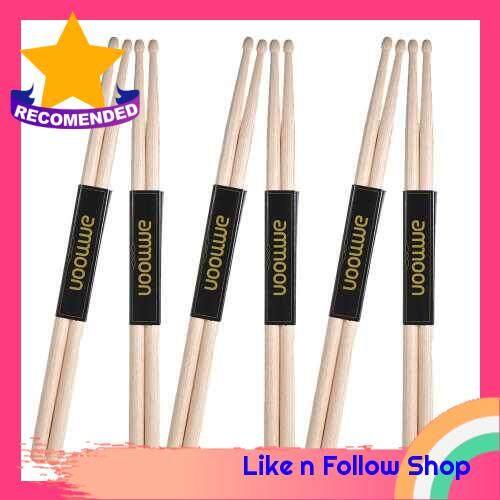 ammoon 6 Pair of 7A Wooden Drumsticks Drum Sticks Maple Wood Drum Set Accessories (7A6)