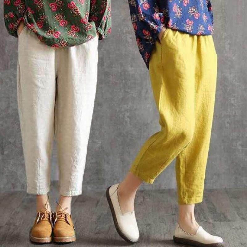 (PRE ORDER) WOMEN COTTON AND LINEN LOOSE LARGE SIZE SOLID COLOR CASUAL PANTS