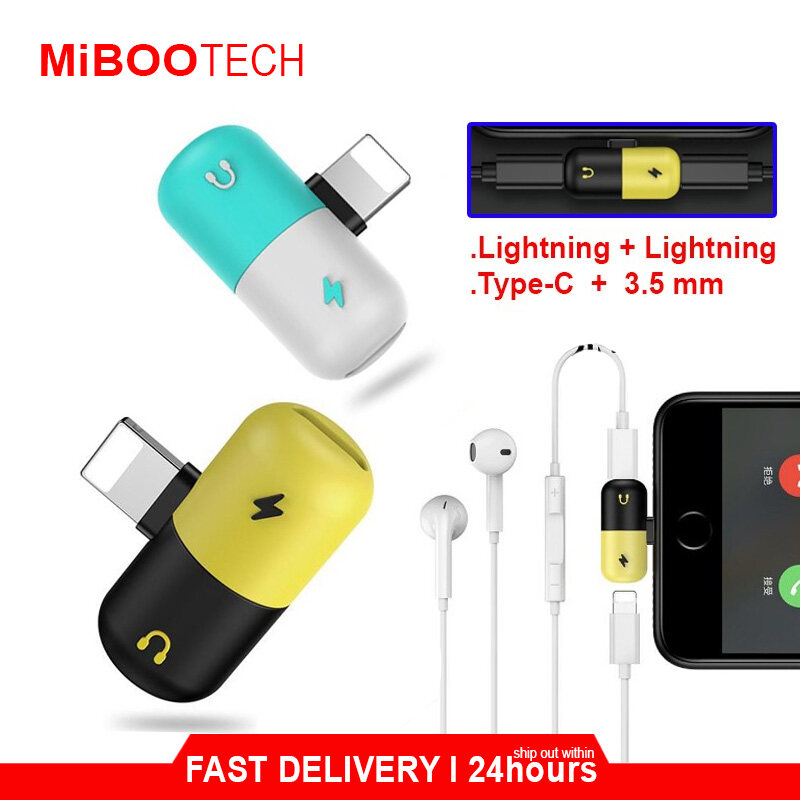[Miboo] Type-C / Lightning 2 in 1 AUX & Charging Converter Mini Converter Huawei Samsung IPhone - Type-C to 3.5mm