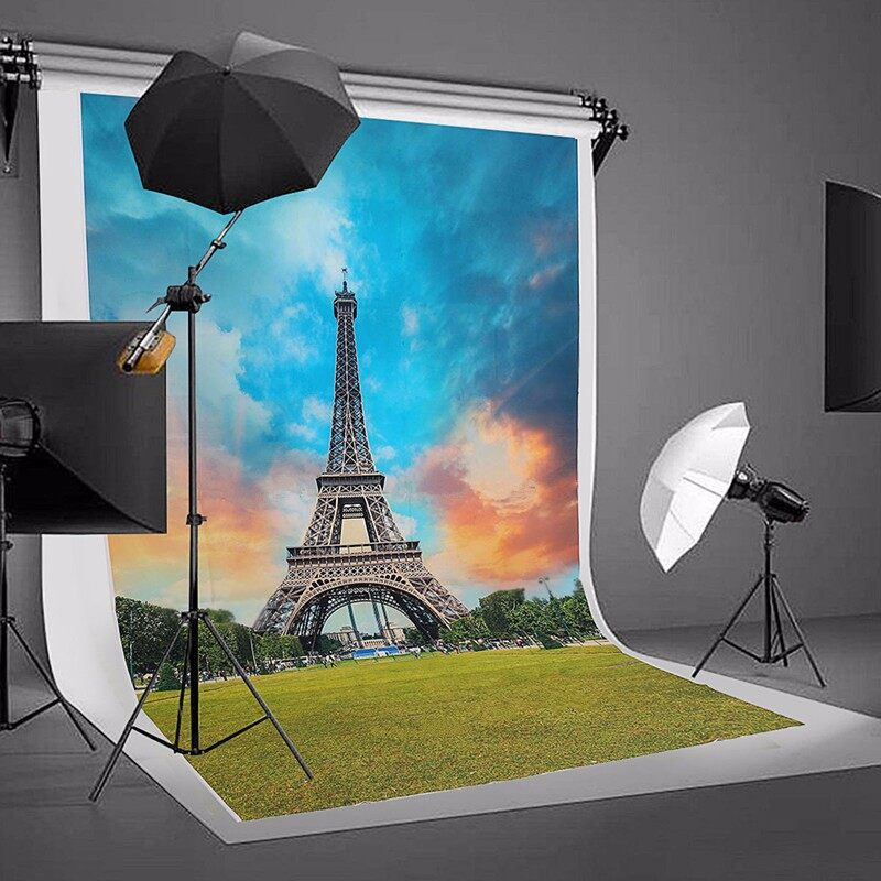 Lighting and Studio Equipment - Vinyl Eiffel Tower Photography Background Backdrop Studio Props 5X7FT DB772 - Camera Accessories