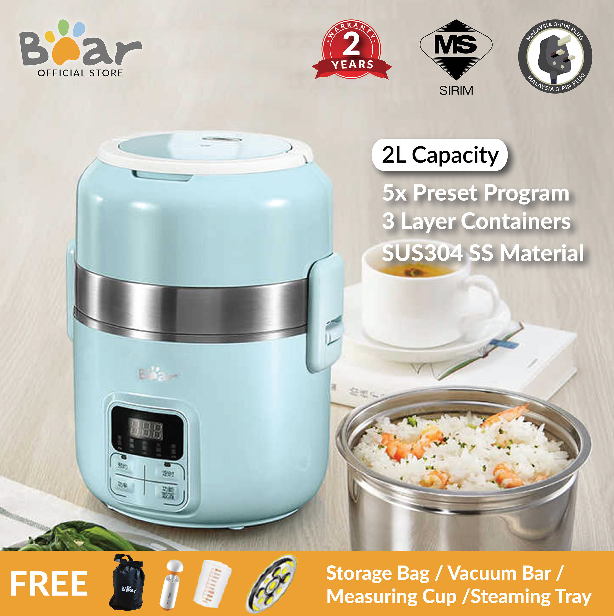 Bear Electric lunch box DFH-B20J1 2L Pluggable heating rice cooker heat preservation appointment timing mini portable cooking pot (Malaysia 3-Pin Plug)