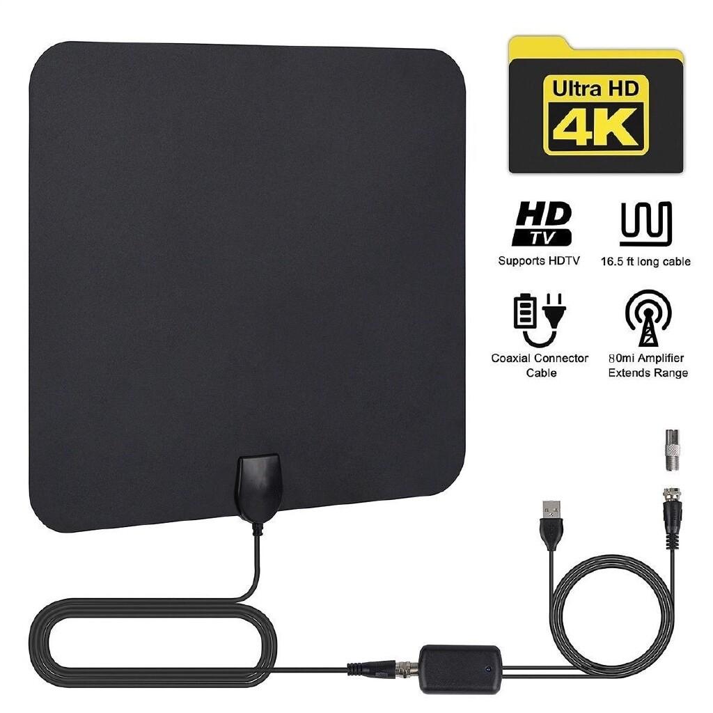 ULTRA Thin Flat Indoor HDTV Amplified HD TV Signal Antenna 16FT Coax 100 Mile