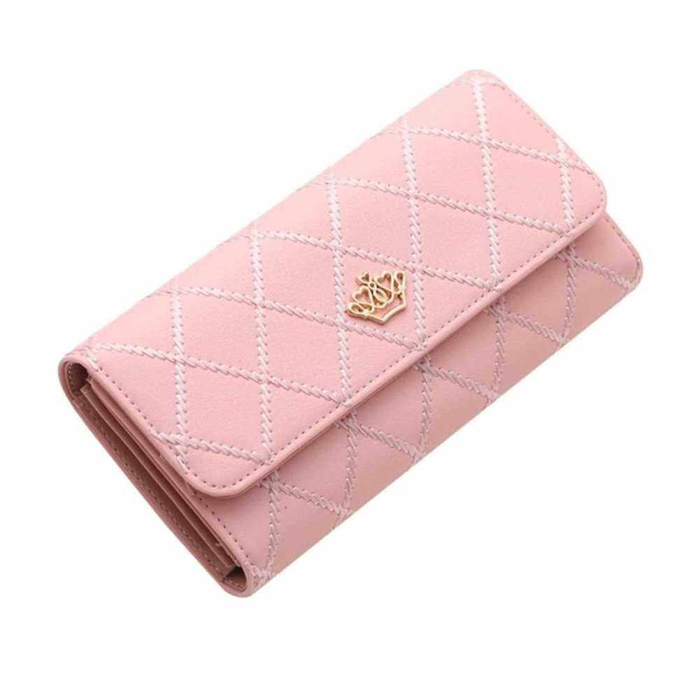 Comfortable Crown Women Long Wallets PU Leather Hand Bag Fashion Ladies Purse (Pink)