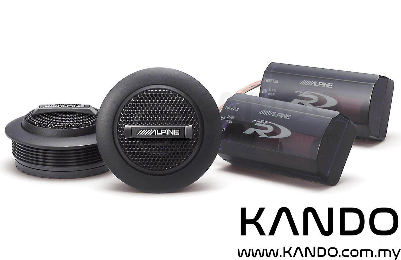Alpine SPR-10TW Type-R Silk Dome Tweeter with Crossover Car Speakers 1 inch Tweeter Peak 450W RMS 150W