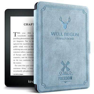 Flip Case Auto Sleep / Wake Function for Kindle Paperwhite 1 / 2 / 3 (SILK BLUE)