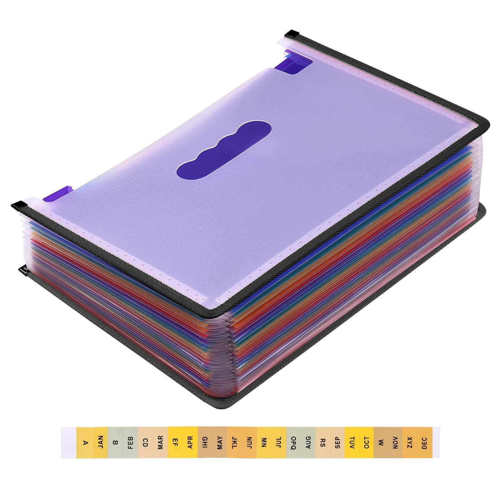 Best Selling 24 Pockets Expanding File Folder Accordian File Organizer A4 Letter Size Document Organizer Rainbow Color for Home Office School (Standard)