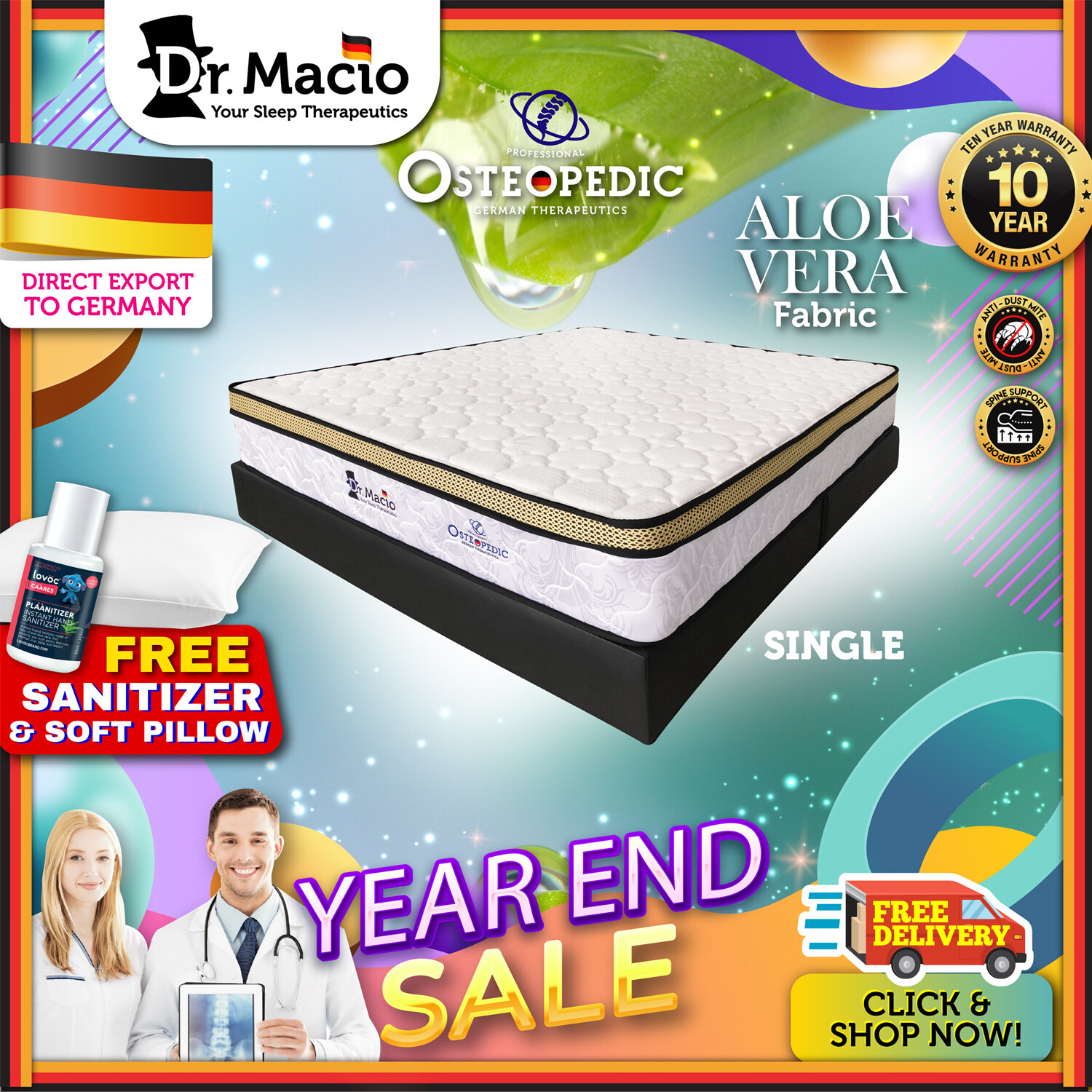 [ Free Shipping ] Dr Macio Osteopedic  (Single) (Super Single) (Queen) (King) Mattress Ready Stock / Tilam Dr Macio 10 years warranty anti dustmite FREE Pillow [ Fast Delivery ] [ Deliver in CMCO ]