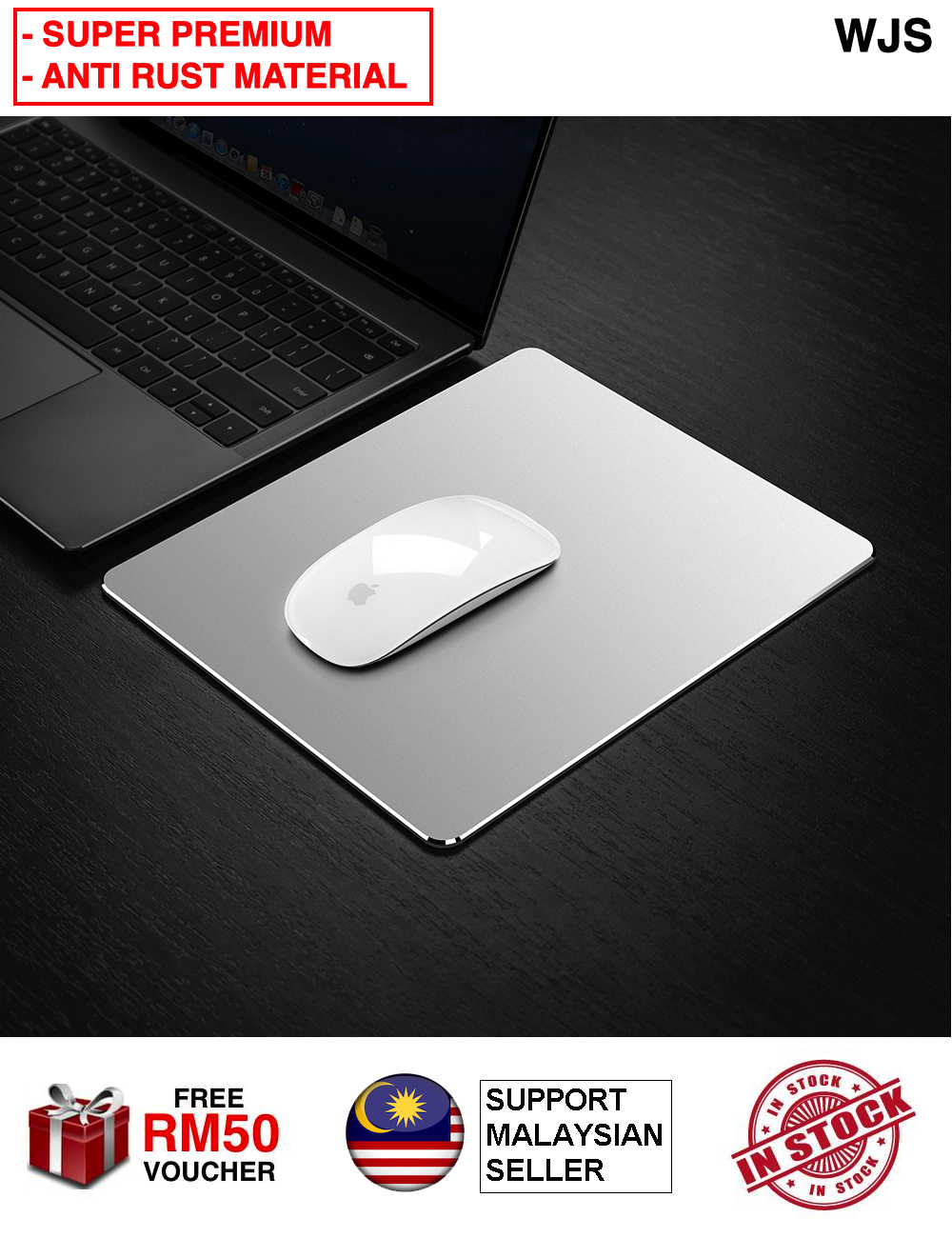 (SUPER PREMIUM MATERIAL) WJS Anti Rust Metal Aluminium Mouse Pad Mat Hard Smooth Magic Thin Mousepad Double Sided Macbook Mousepad Mac Book Mousepad Magic Mouse Pad Waterproof Fast and Accurate Control for Office Home BLACK SILVER ROSE GOLD [FREE RM 50 VO