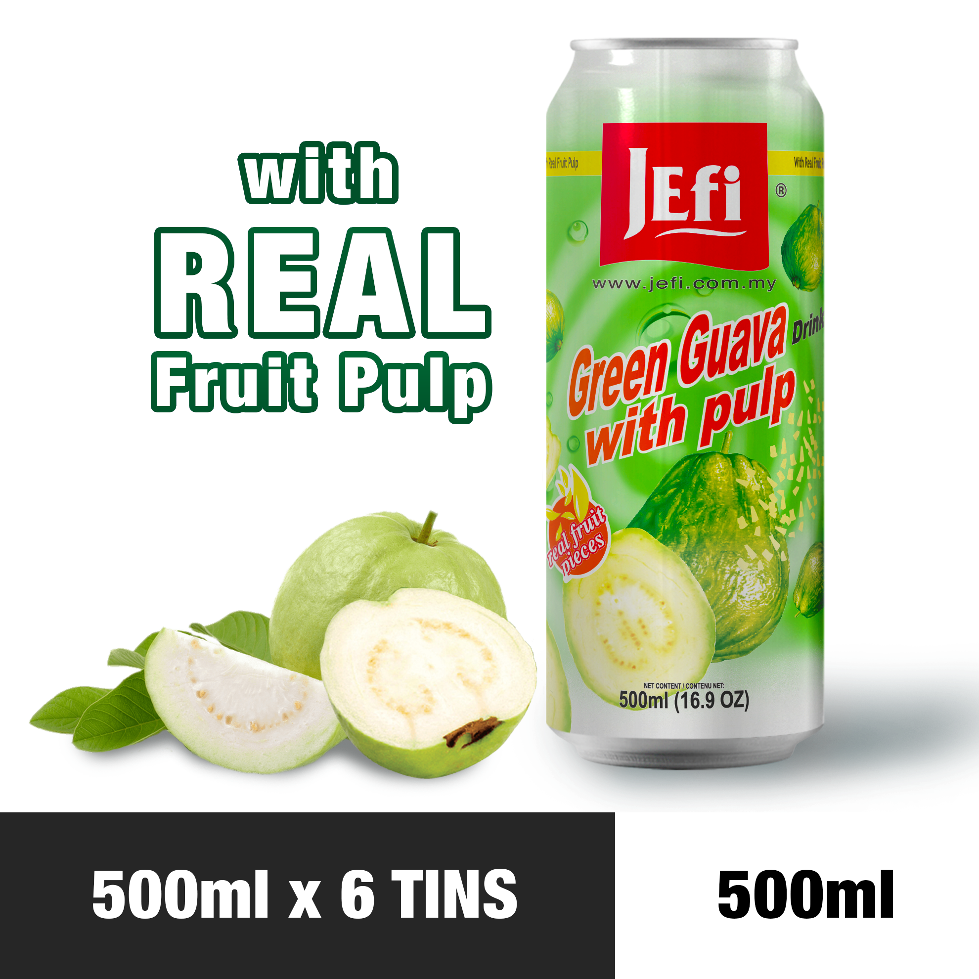 JEFI Green Guava Drink with Real Fruit Pulp (500ml x 6tins)