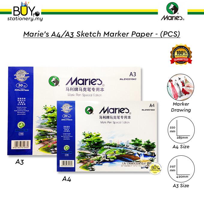 Marie's A4/A3 Sketch Marker Paper - (PCS)
