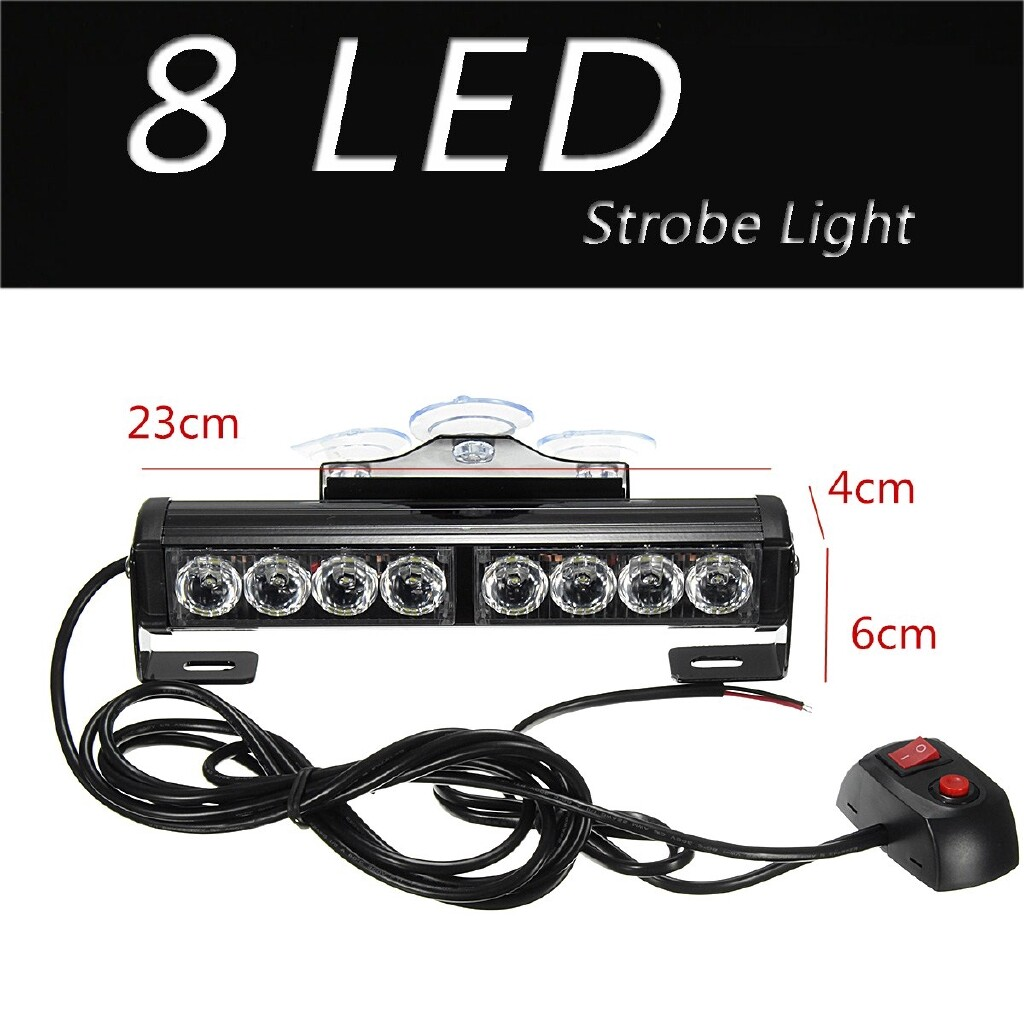 Car Lights - 8W 8 LED Car Truck Windshield Lamp Bar Warning Flashing Strobe Light White 12V - Replacement Parts