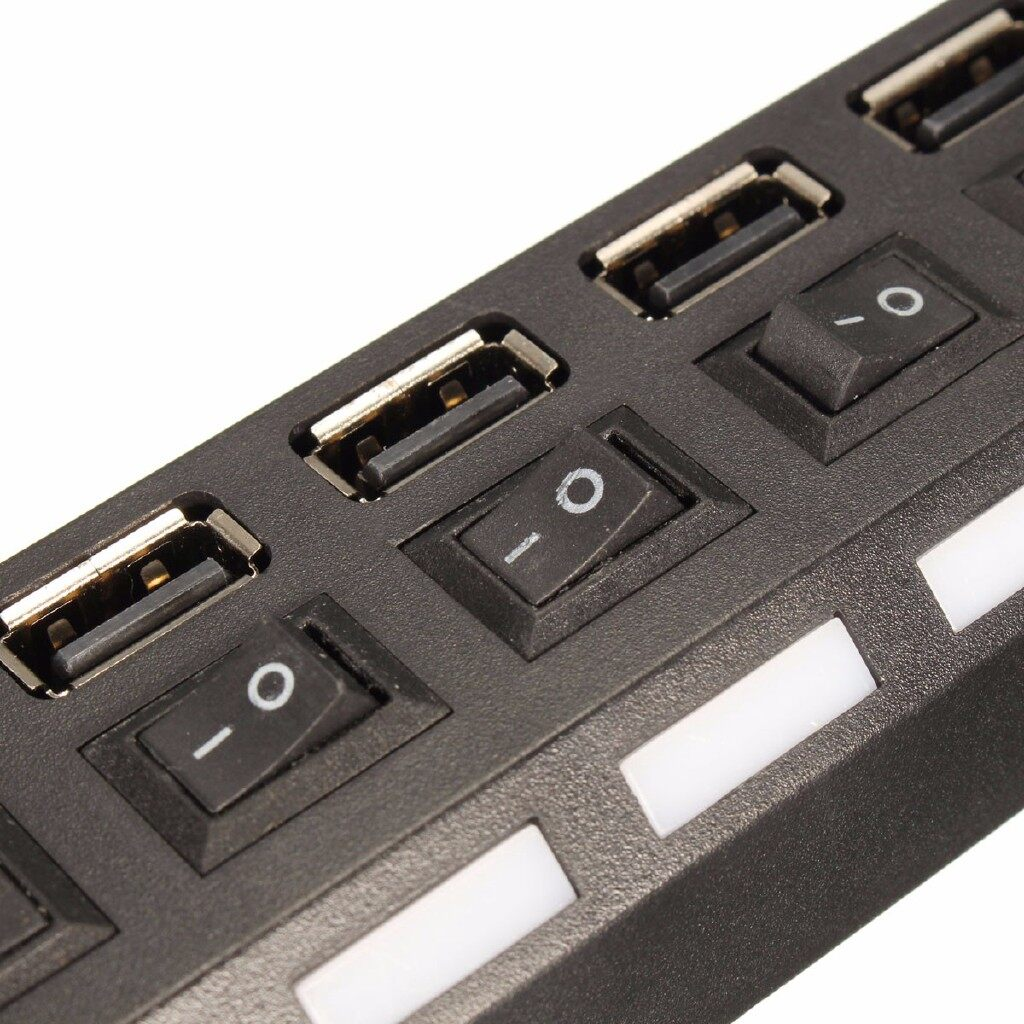 Cables & Chargers - 7-Port USB 2.0 Power Hub High Speed Adapter ON/OFF Switch For Macbook PC - WHITE / BLACK