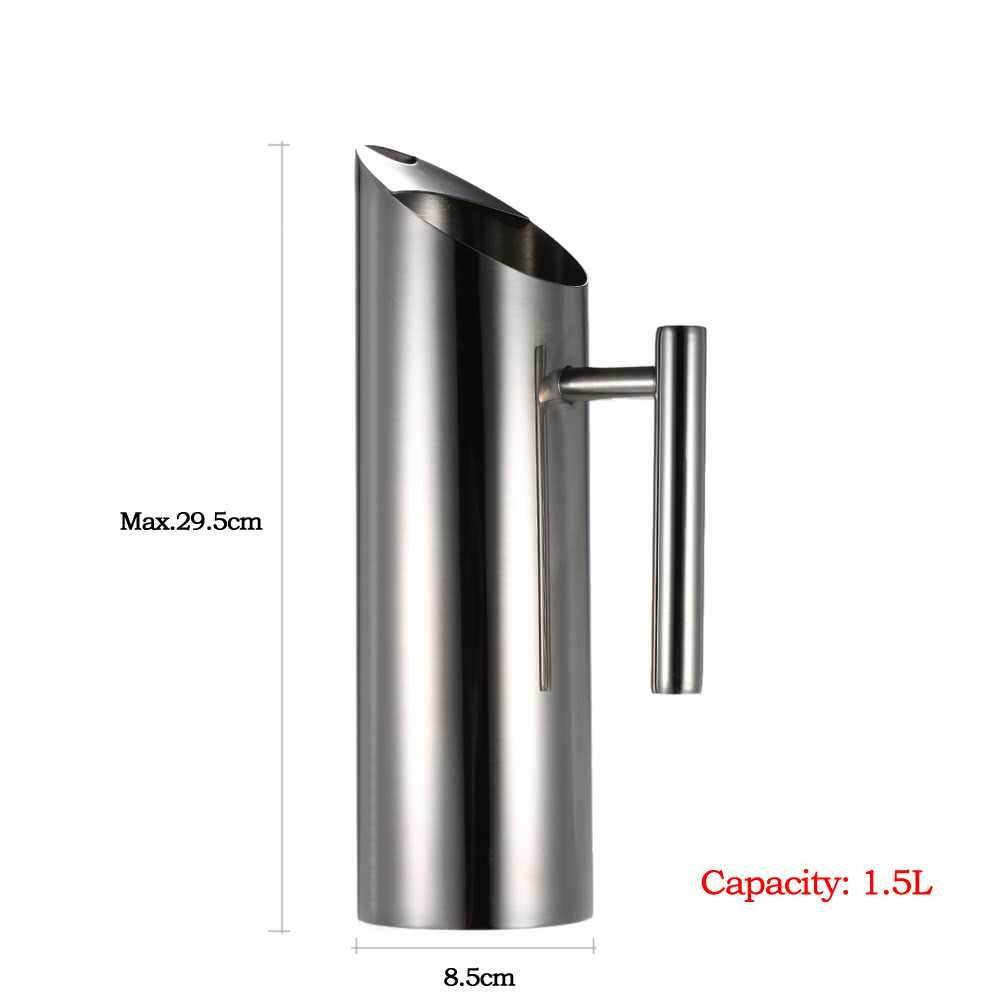 1.5L Large Capacity Stainless Steel Water Pitcher Cold Drink Juice Pot with Ice Guard (black red)