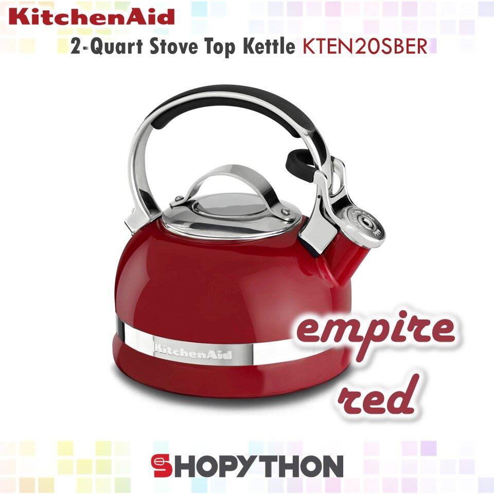 KitchenAid 2-Quart Stove Top Kettle KTEN20SBER (Empire Red) 1.9L Porcelain Enamel with Stainless Steel Full Trim Handle