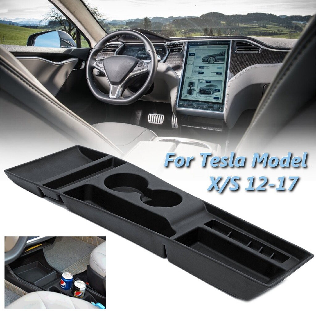 Organizers - Cup Holder Center Console Storage Box Silicone For Tesla Model X / S 2012-2017 - Car Accessories