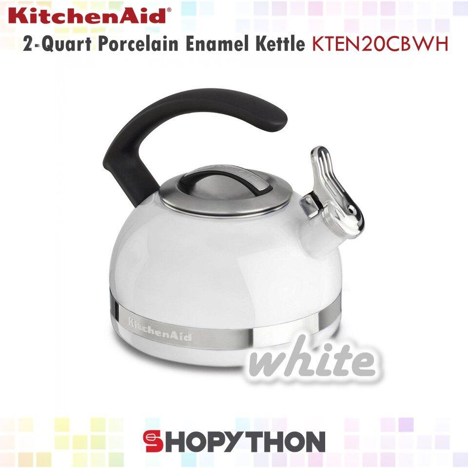 KitchenAid 2-Quart Porcelain Enamel Kettle with C Handle (White) Whistle Blow Easy Filling Cleaning Induction Ceramic
