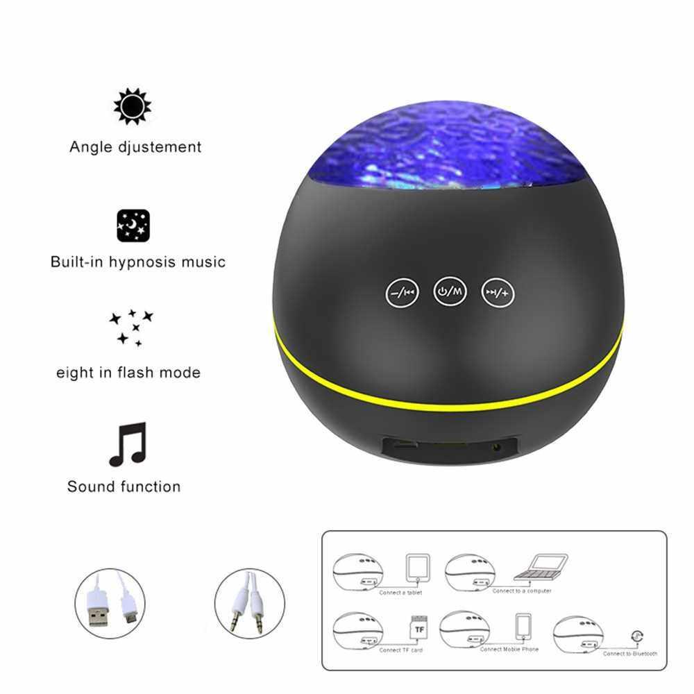 Remote Control Ocean-Wave Projector Light with 8 Lighting Modes Brightness Adjustable BT Music Speaker Machine & Support TF Card Baby USB Night Light for Bedroom Decoration Living Room (Black)