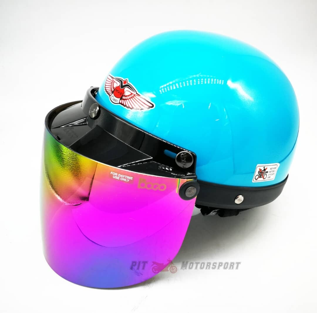 Petronas Blue MHR III Half Cut Helmet / MHR 3 100% Original Size L Add On Visor Kura EX5 Y110 Y80 125Z Ysuku RFS150 VF3i C70 RS150 LC135 Y15