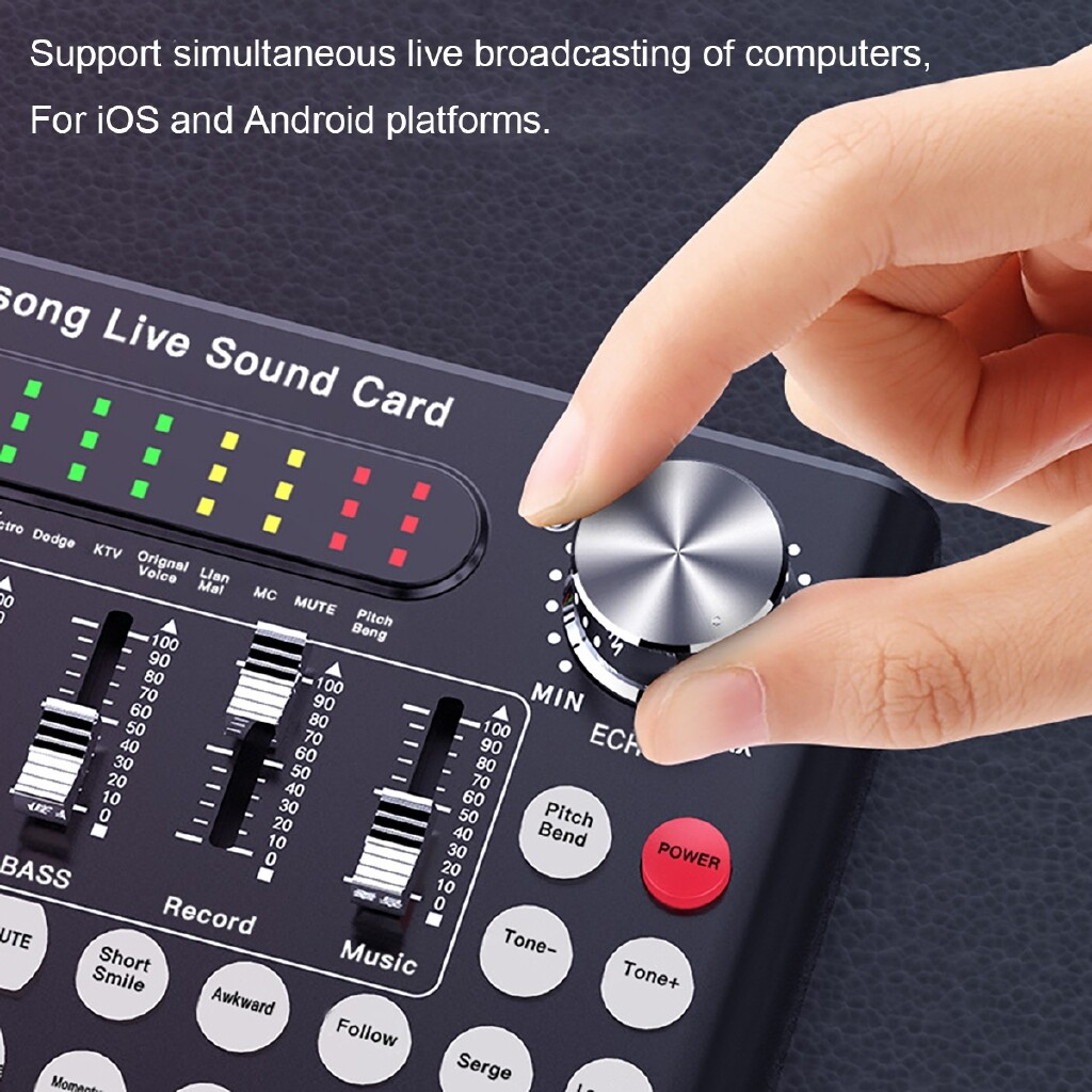 Keyboards - USB BLUETOOTH Live Sound Card Webcast Head SET Microphone for Phone Computer PC - BLACK / RED