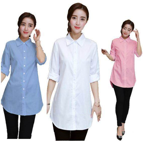 Korean Brand New Women Long Blouse Casual Shirts Long Sleeve White Shirt blouses