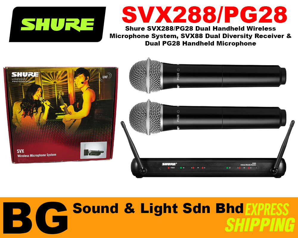 [SHIP OUT EVERYDAY] Shure SVX288/PG28 Dual Vocal Wireless System, SVX88 Dual Diversity Receiver & Dual PG28 Handheld Mic