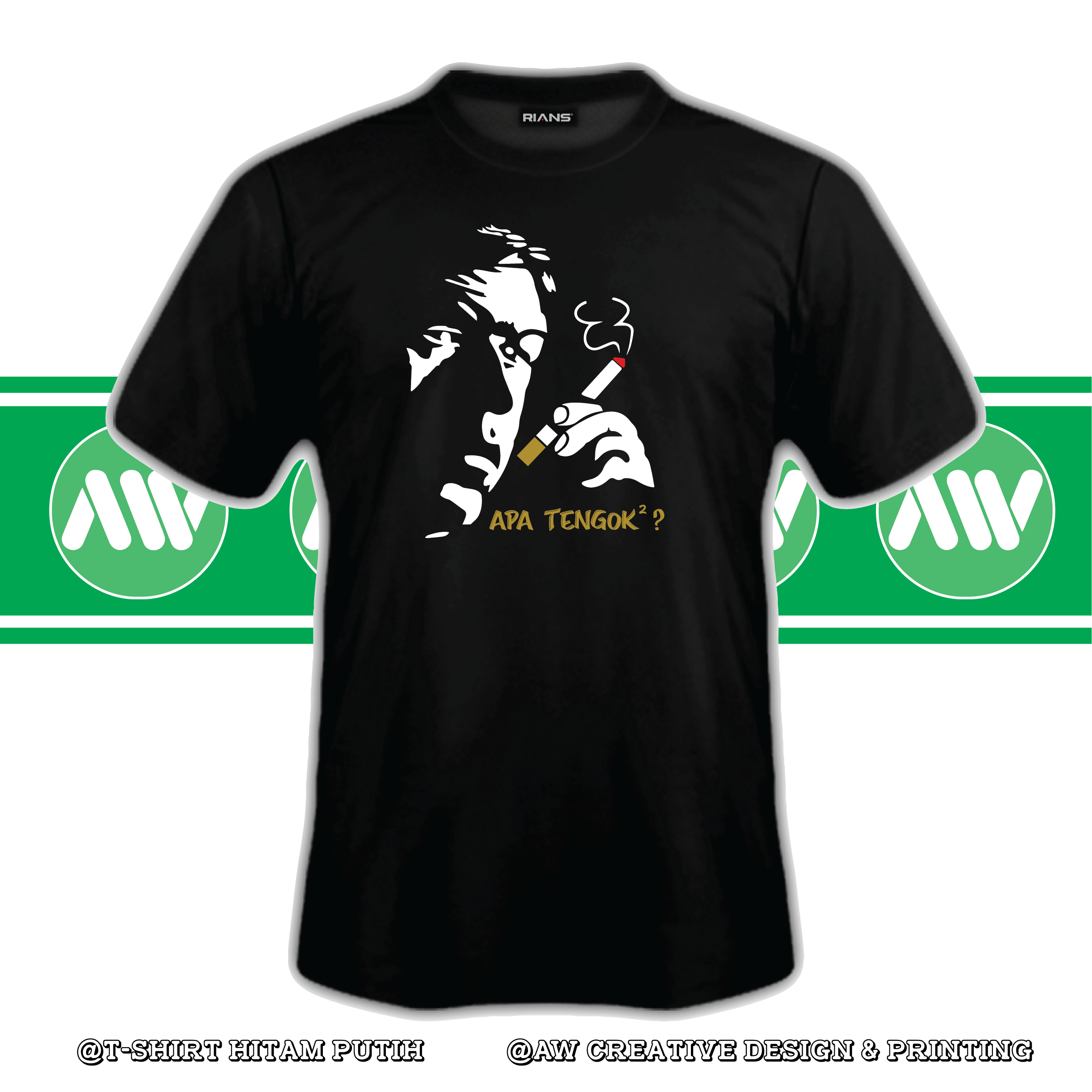 T-Shirt APA TENGOK TENGOK 4 Colour 100% Cotton Baju Tshirt Black White Hitam Putih Bossku
