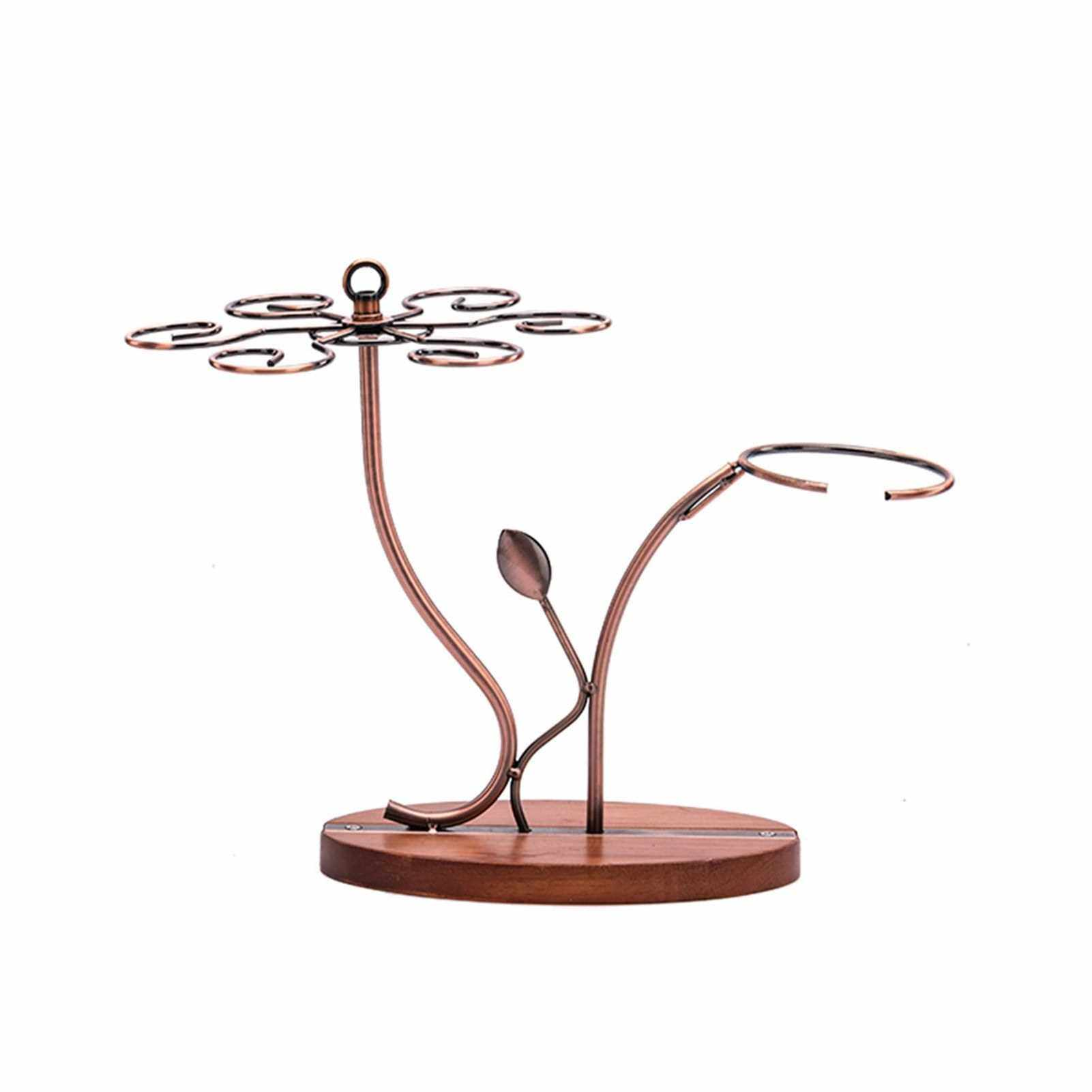 People's Choice 2-in-1 Red Wine Glass Rack & Wine Decanter Vintage Bronze 6 Wine Glasses Stemware Storage Display Drying Rack Stand Tabletop Free-standing Wine Glass Holder Solid Wooe Base (Standard)