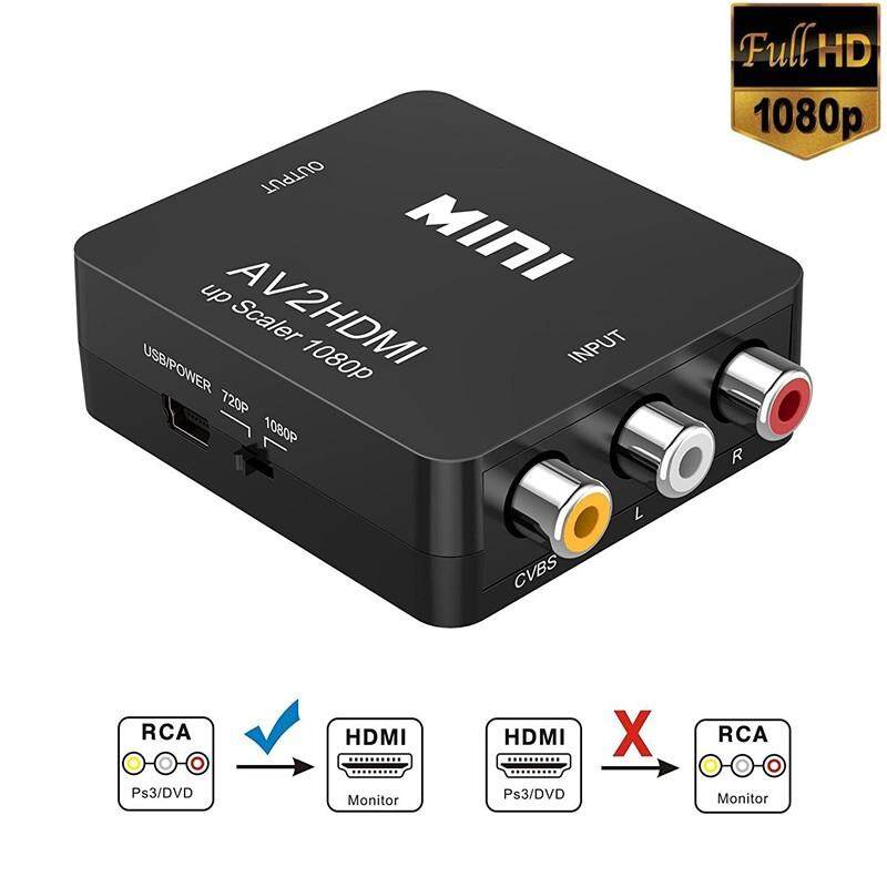 Adapters & Converters - RCA to HDMI, 1080P MINI RCA Composite CVBS AV to HDMI Video Audio Converter - Network Components