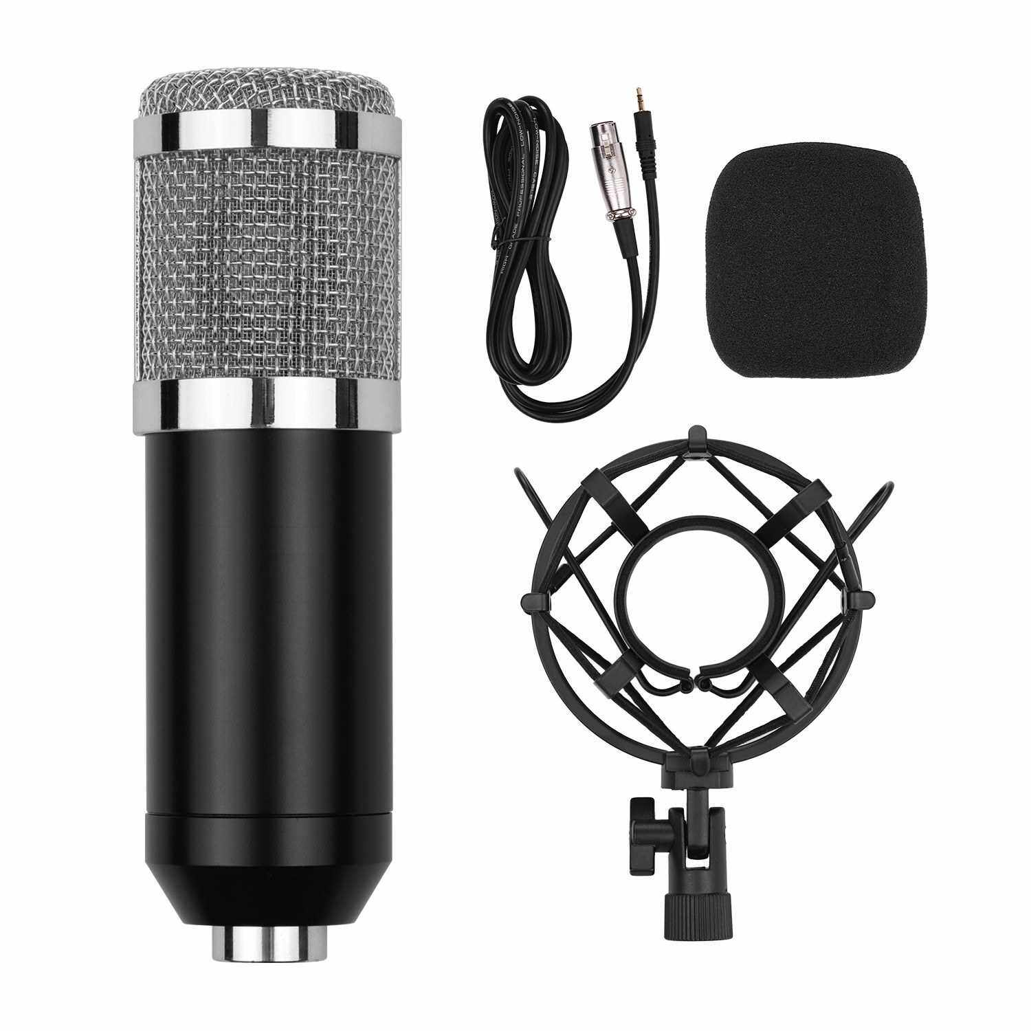 Professional Cardioid Condenser Microphone Kit with Audio Cable Metal Shockproof Clamp High Sensitivity Low Noise Mic for Vocal Piano Instrument Live Streaming Broadcasting Silver (Silver&Black)