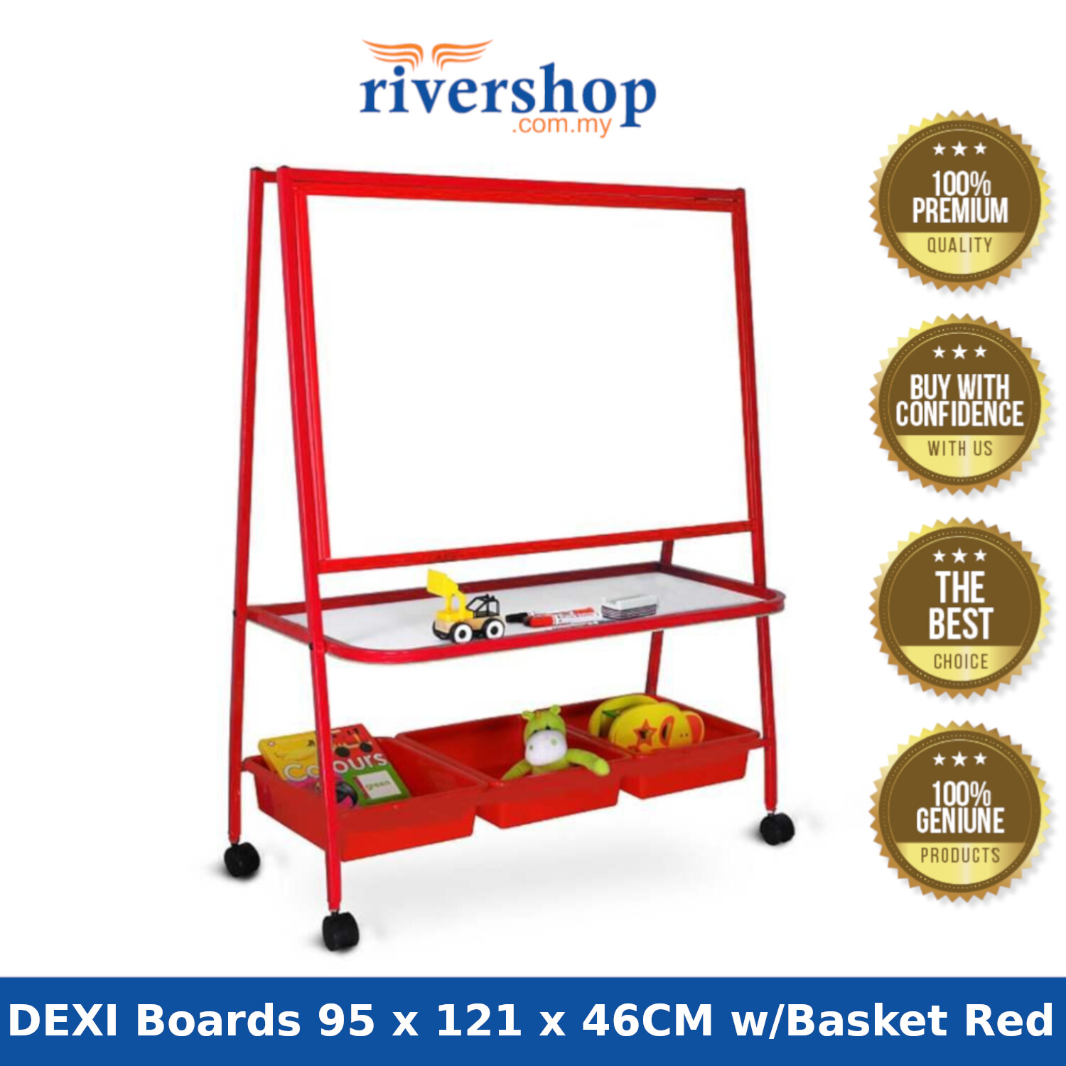 WP-K3S DEXI Boards 95 x 121 x 46CM 4 Castors Single Sided Magnetic Whiteboard with 3 Baskets (Red/Blue)