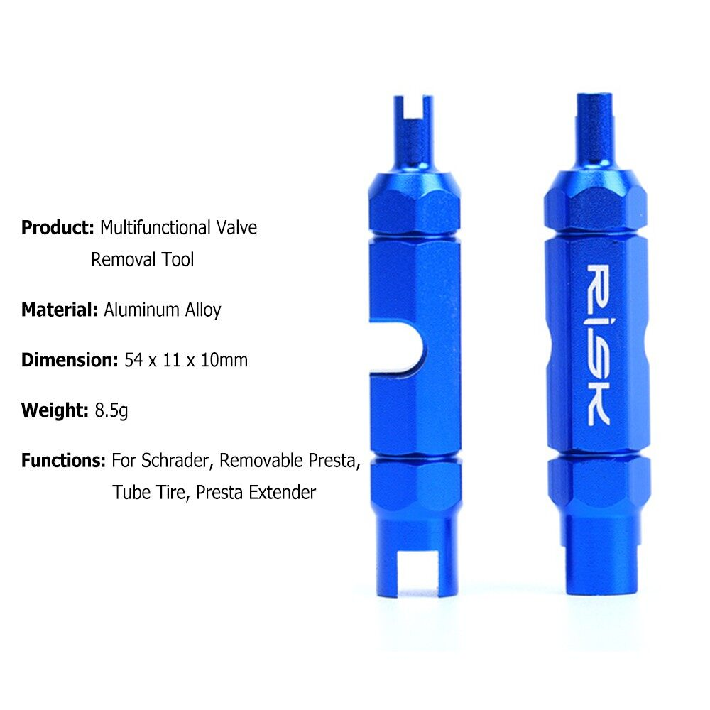 Safety Equipment - RISK Bicycle Valve Core Removal Tool for Schrader Presta Extender Bike - Cycling