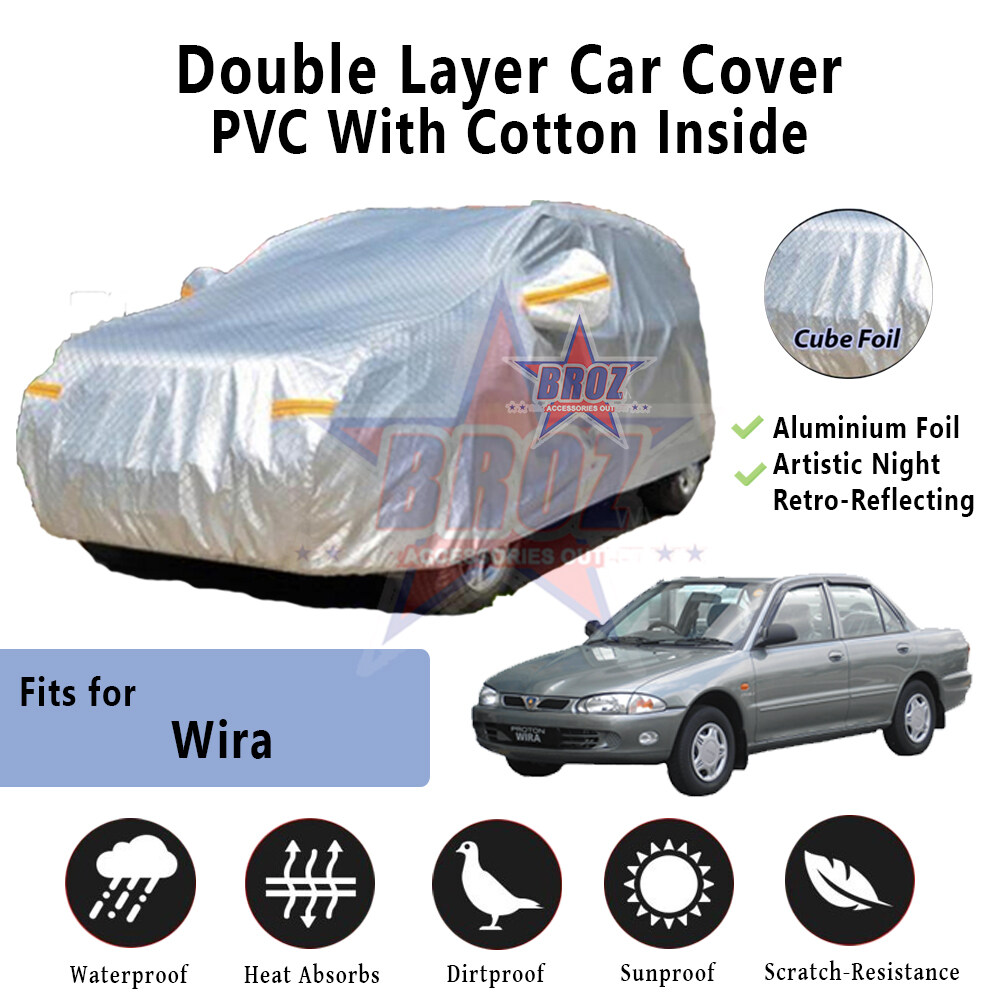 Wira High Quality Durable Anti Scratch Double Layer All Weather PVC Cotton Aluminium Foil Car Body Cover - L Size