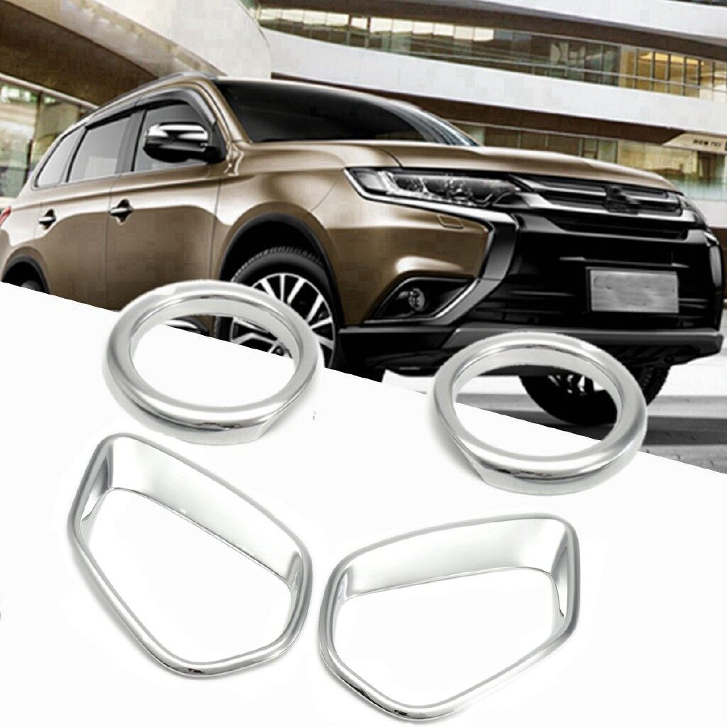 Automotive Tools & Equipment - Chrome Front Rear Fog Light Lamp Frame Cover Trim For MITSUBISHI Outlander 16-17 - Car Replacement Parts