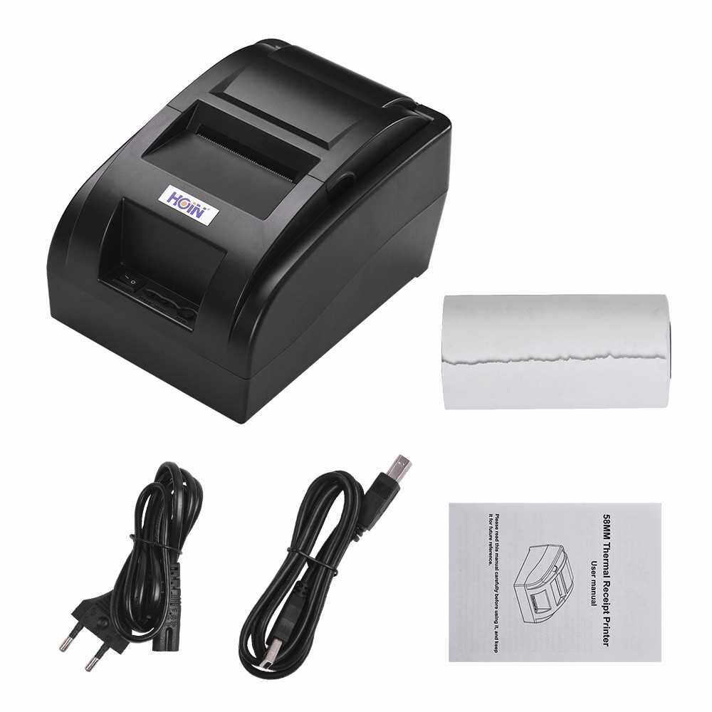 HOIN Small Portable USB 58mm Thermal Receipt Printer Voice Broadcast Bill Ticket Printing Compatible with ESC/POS for Windows/Linux/Android Systems for Supermarket Store Business (Black)