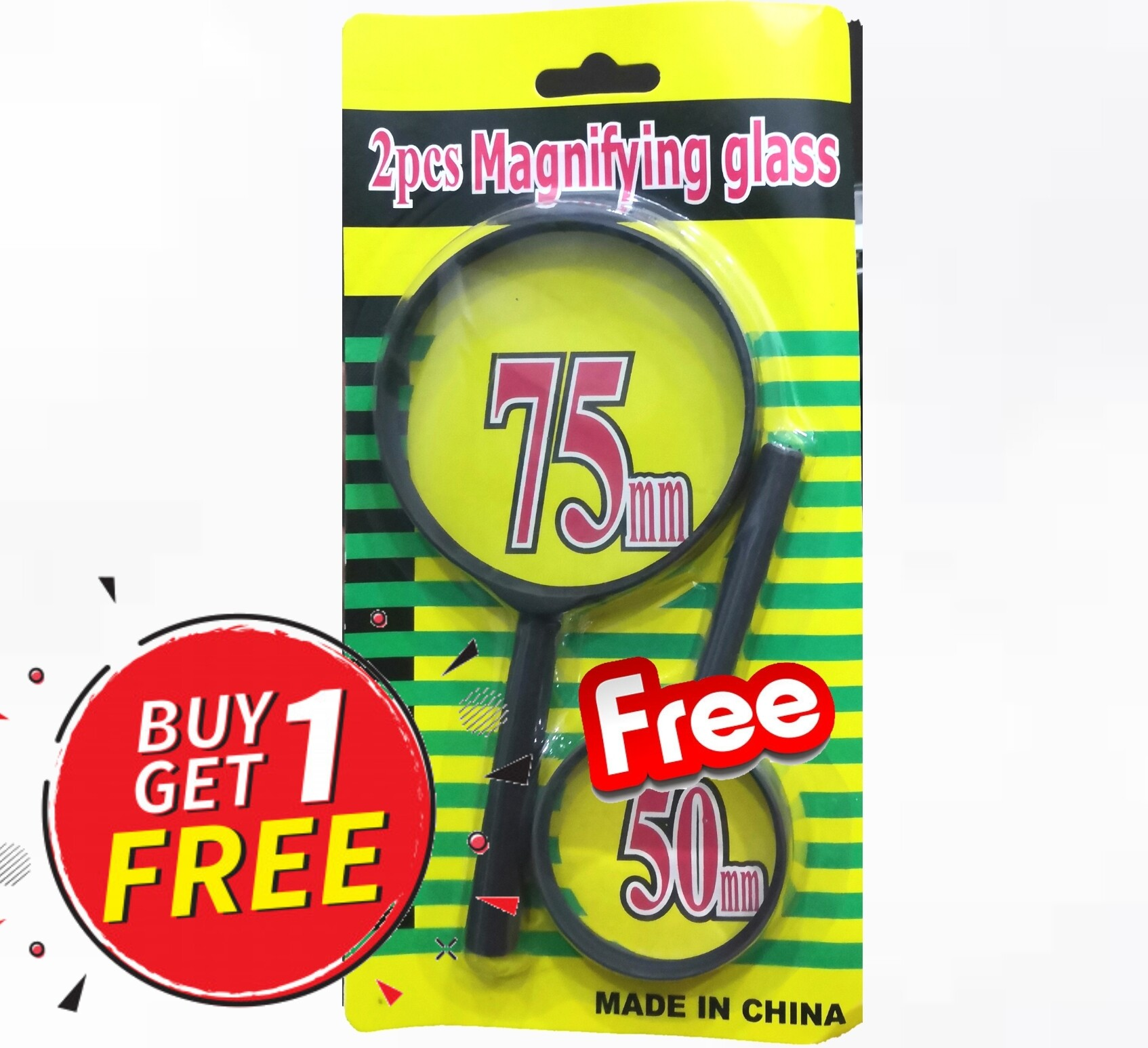 (Ready Stock)Handheld Portable Magnifier Clarity Reading Magnifying Glass For Book Newspaper, Inspection 75mm Buy 1 Free 1