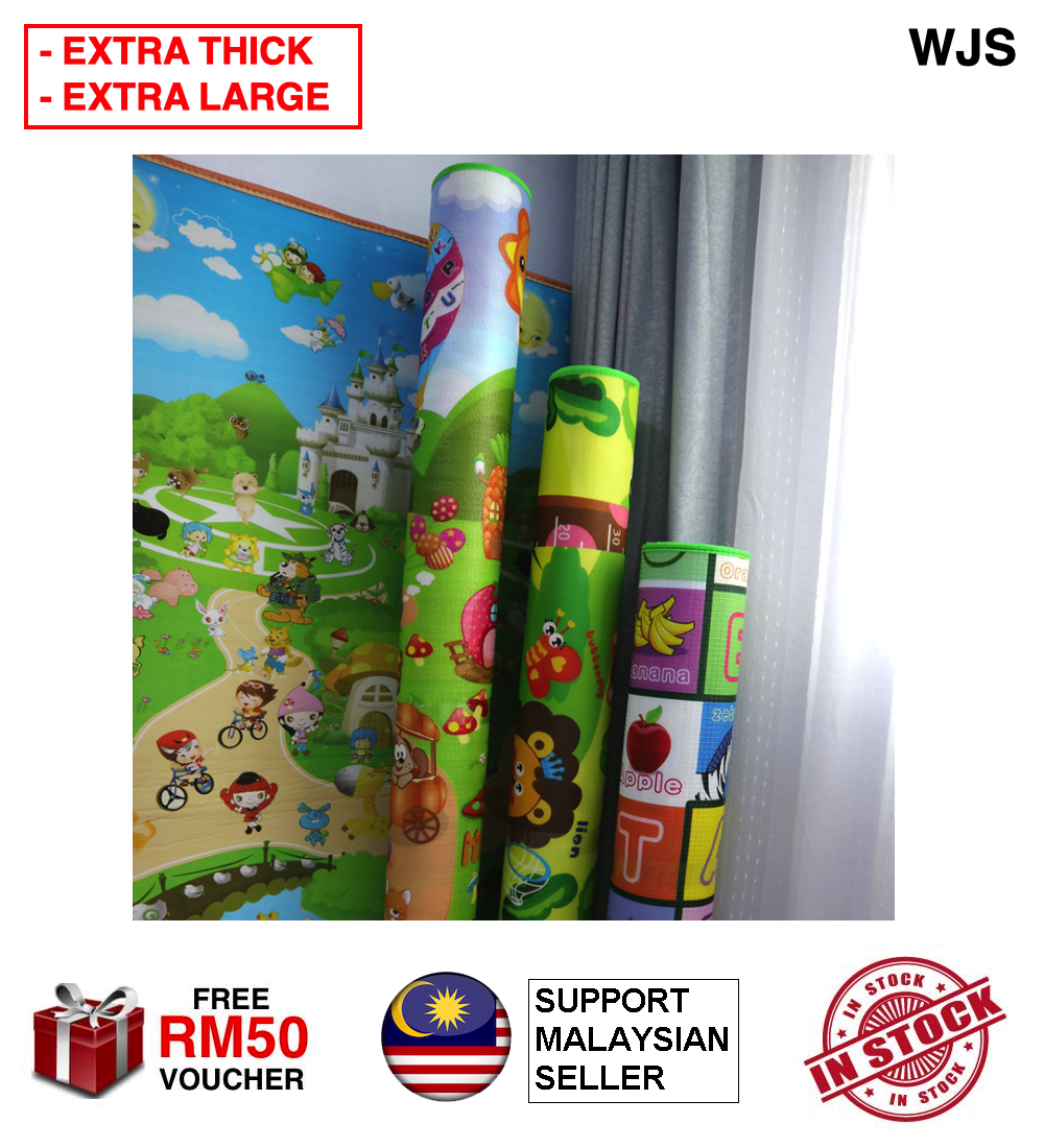 (SUPER THICK - USE AS MATTRESS) WJS Extra Thick 2 cm 2cm Double-sided Waterproof Baby Crawling Play Mat with Enhanced Small Square Design Baby Playmat Crawling Mat Baby Mattress Play Area MULTICOLOR [FREE RM 50 VOUCHER]