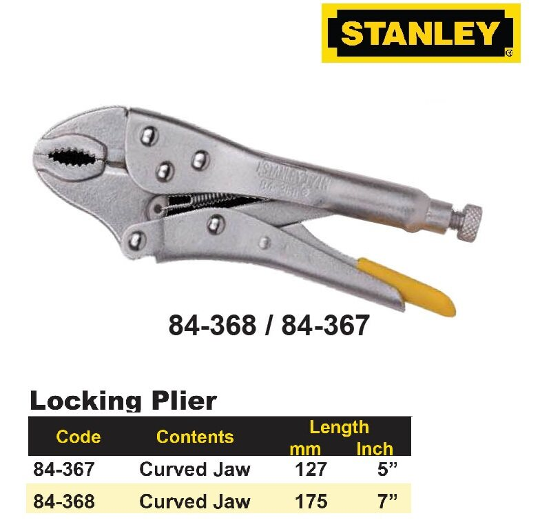 "Stanley Locking Plier 84367 5"" / 84368 7"""