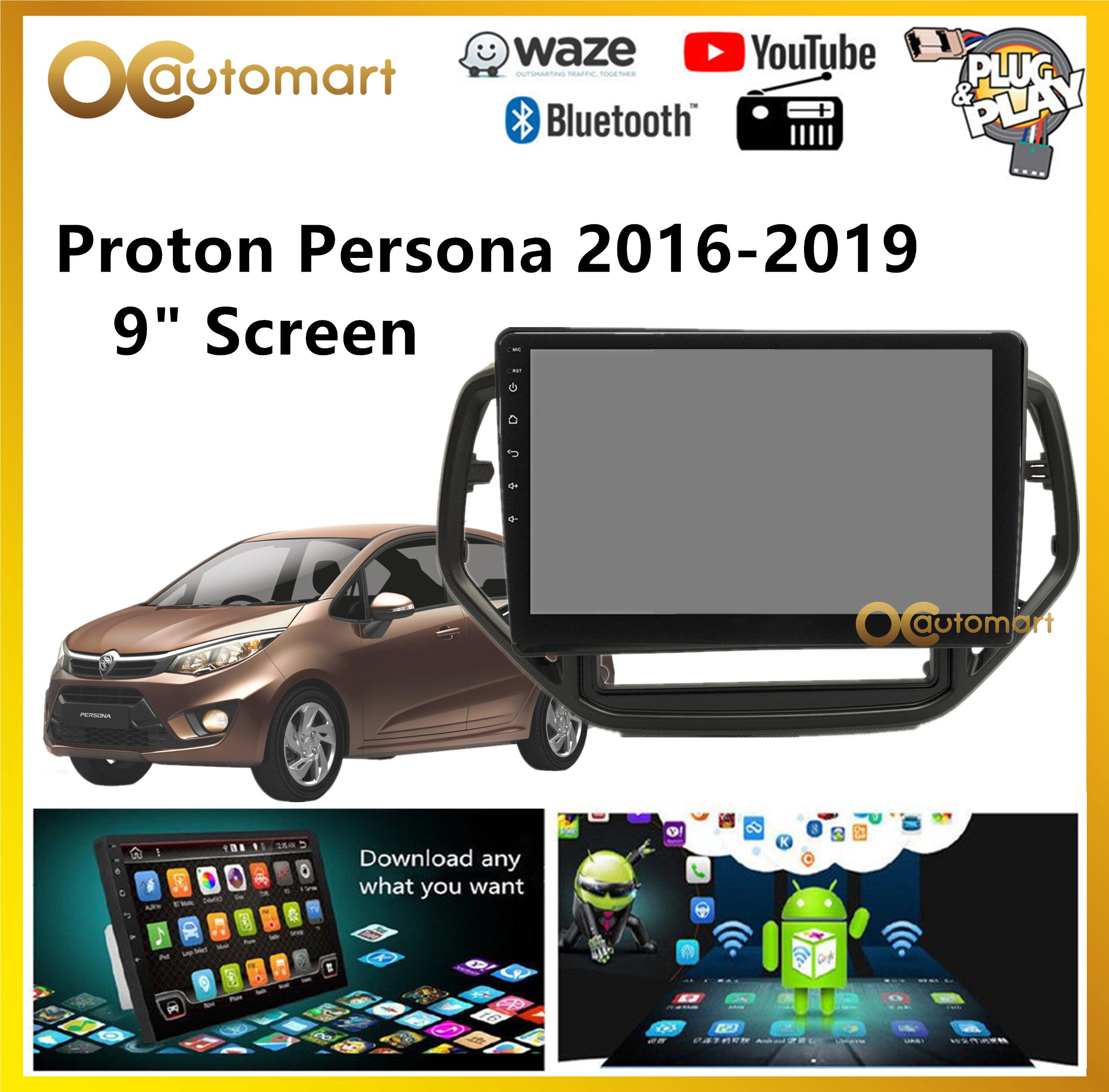 Proton Persona 2016-2019 Big Screen 9  Plug and Play OEM Android Player Car Stereo With WIFI Video Player/TouchScreen