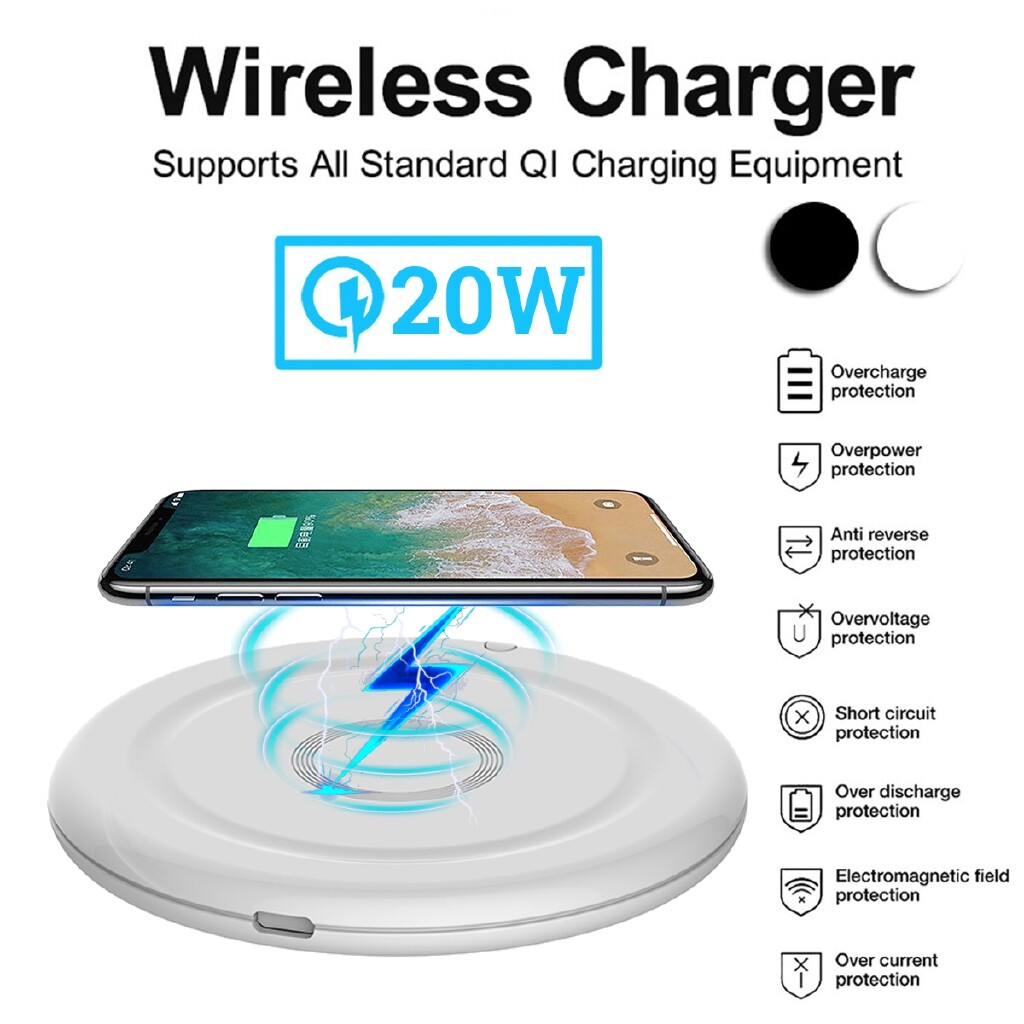 Chargers - 20W Qi WIRELESS Charging Pad Fast Charger Mat For iPh11 Pro Max Galaxy S10 - BLACK / WHITE