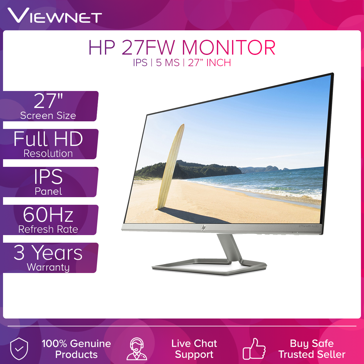 HP 27fw +Audio 27-inch IPS LED Backlit Monitor (4TB32AA#AB4)