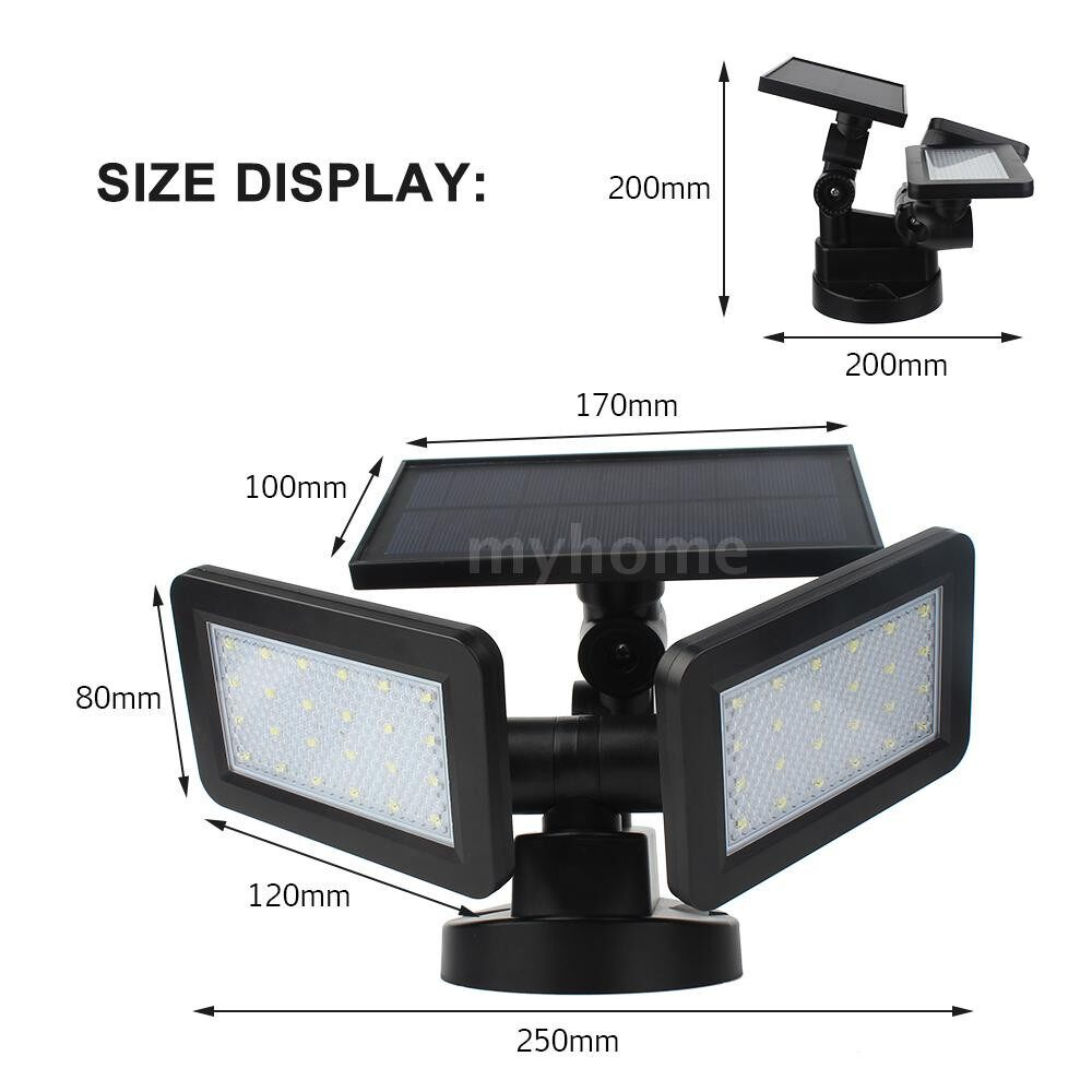 Outdoor Lighting - 48 LED Dual-end High Bright Light Control Solar Lights Wall Mount Lamp Sensitive Sensor Inductor 3 - WHITE