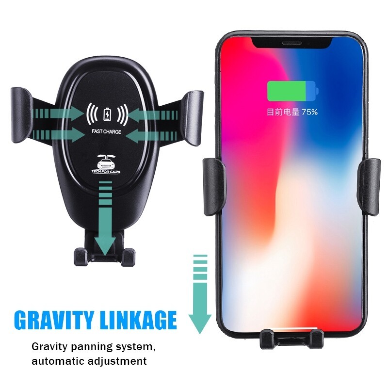 Chargers - WIRELESS Car Fast Charger Automatic Sensor 360 Rotation Car Phone Holder (2 in 1) - Cables
