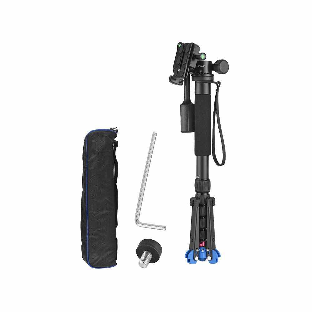 """Andoer Portable Aluminum Alloy 6-Section Monopod with 3 Way Camera Video Damping Head Unipod Holder Max. Height 169cm 1/4"""" Screw Mount for Canon Nikon Sony DSLR ILDC Camera DV Max. Load Capacity 10kg (1)"""