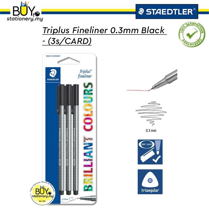 Staedtler Triplus Fineliner 0.3mm Black - (3s/CARD)